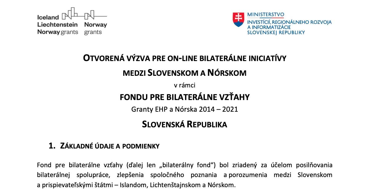 bilaterálne iniciatívy medzi Slovenskom a Nórskom